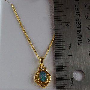 Jewelry - 3/$20 Australian Opal Gold Tone Opal Necklace